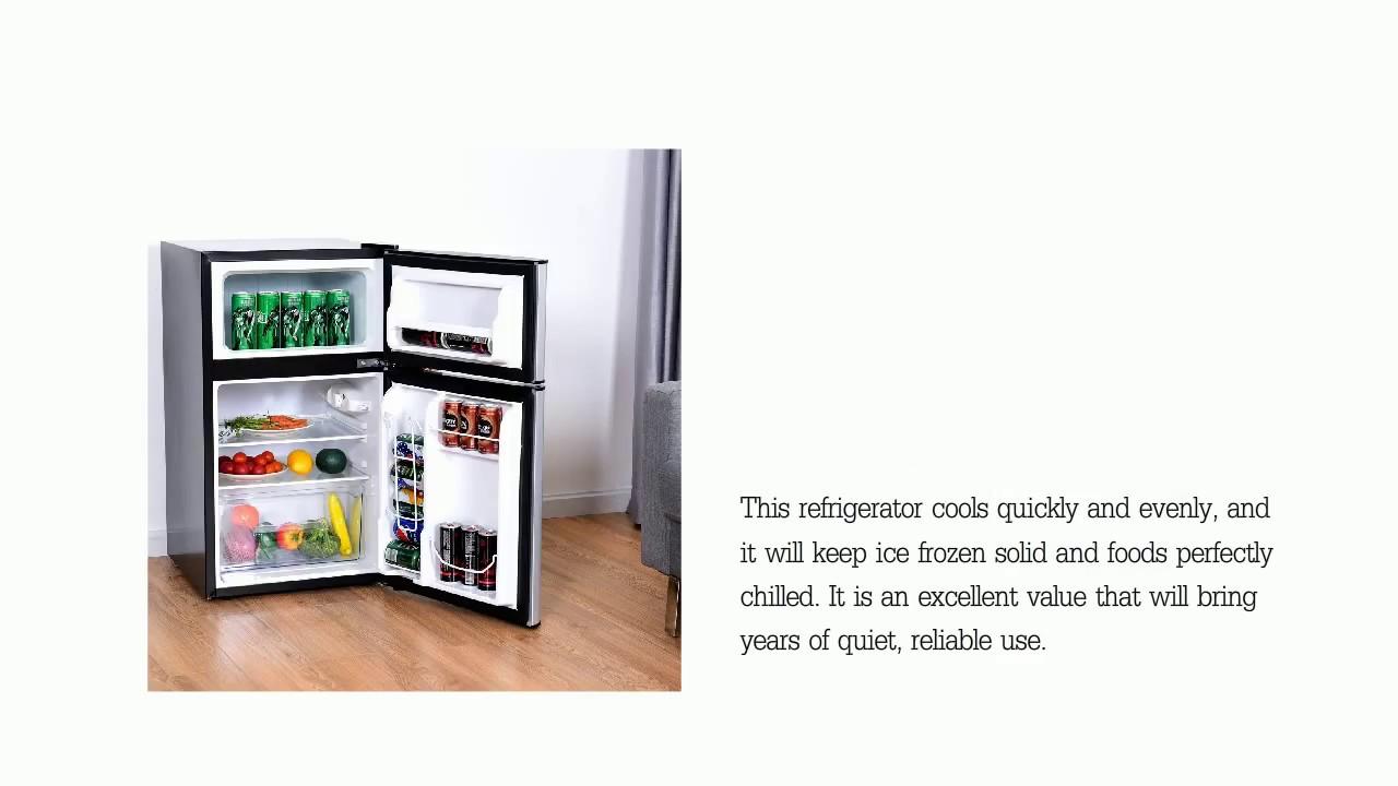 Costway 2-Door Compact Refrigerator 3 2 cu ft  Unit Small Freezer Cooler  Fridge