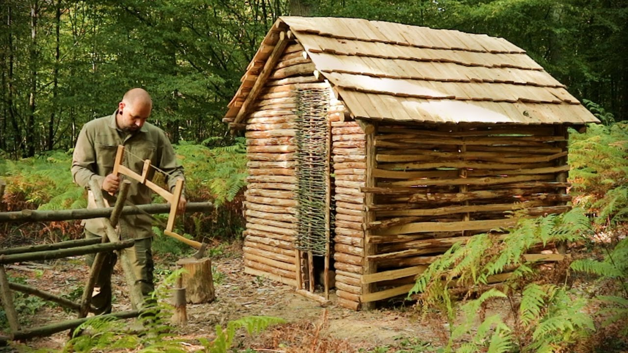 Building a Roofed shelter in the woods with Hand Tools - Part 3