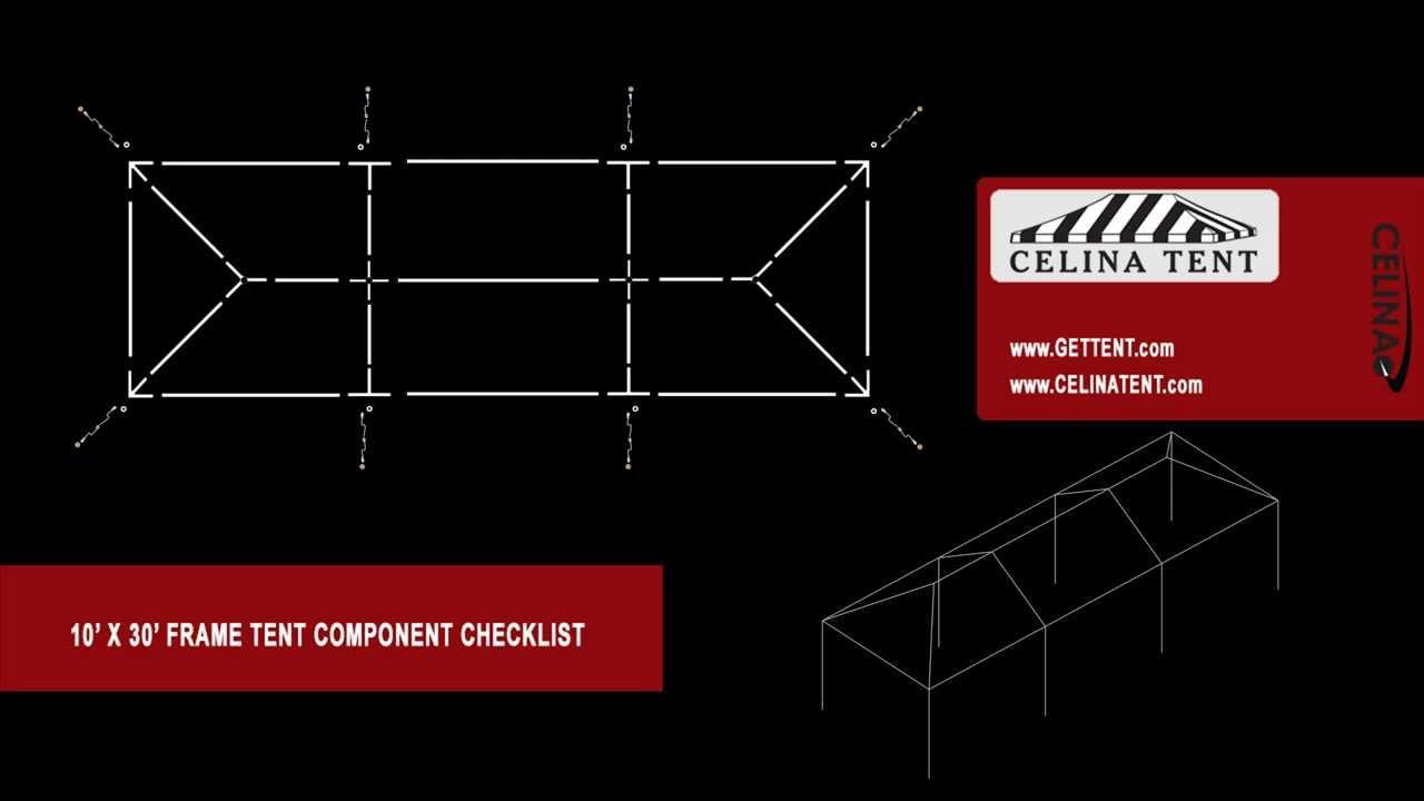 10 x 30 frame tent component checklist [ 1280 x 720 Pixel ]