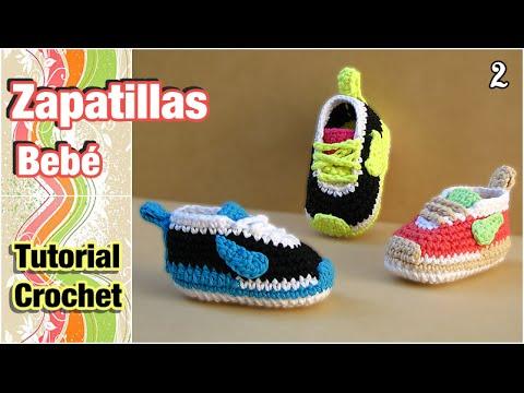 Cómo tejer Zapatillas, patucos, escarpines para bebé a crochet (2 de ...