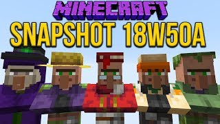 Minecraft 1.14 Snapshot 18w50a Seven New Villager Types! Barrel, Smoker & Blast Furnace Working!