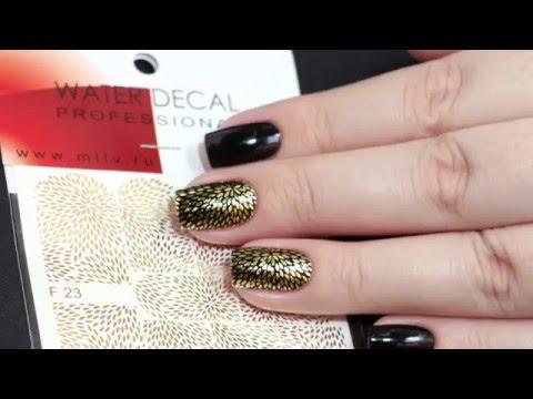 Черные Ногти с Золотом Дизайн Фото