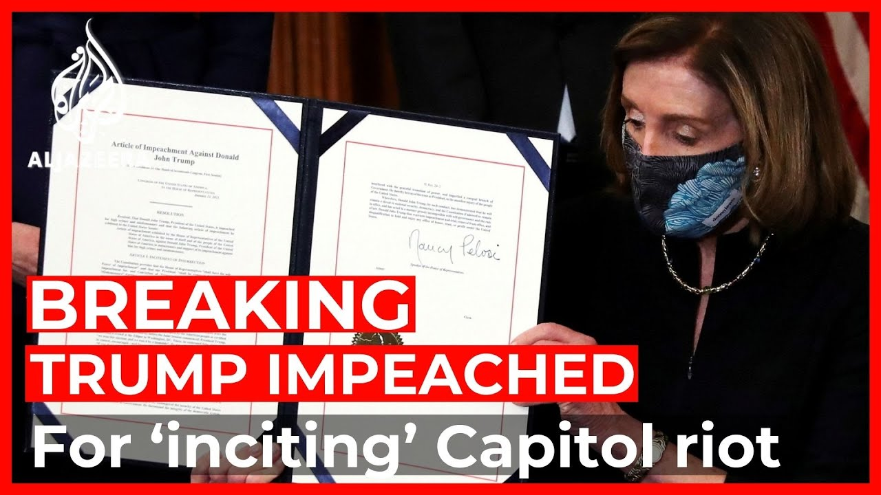 Donald Trump impeached for 'inciting' US Capitol riot - YouTube