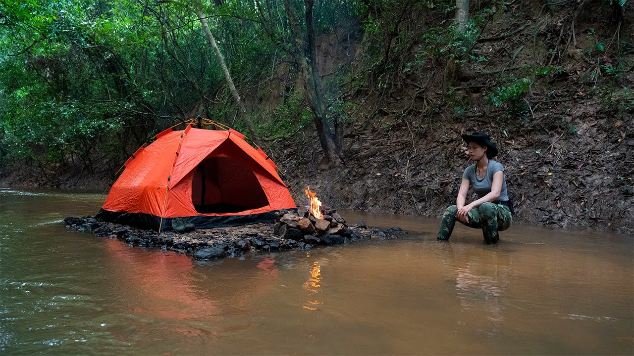 Solo Overnight Camping in my Island - Relaxing River Sound - Catch n Cook Catfish, Outdoor Tent