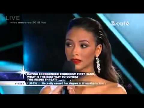 See how rude Miss Columbia to her interpreter said the judges.