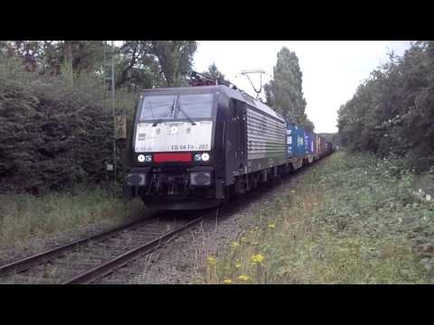 E189 Electric Loco with Container Train at Breyell Germany 14.7.2016