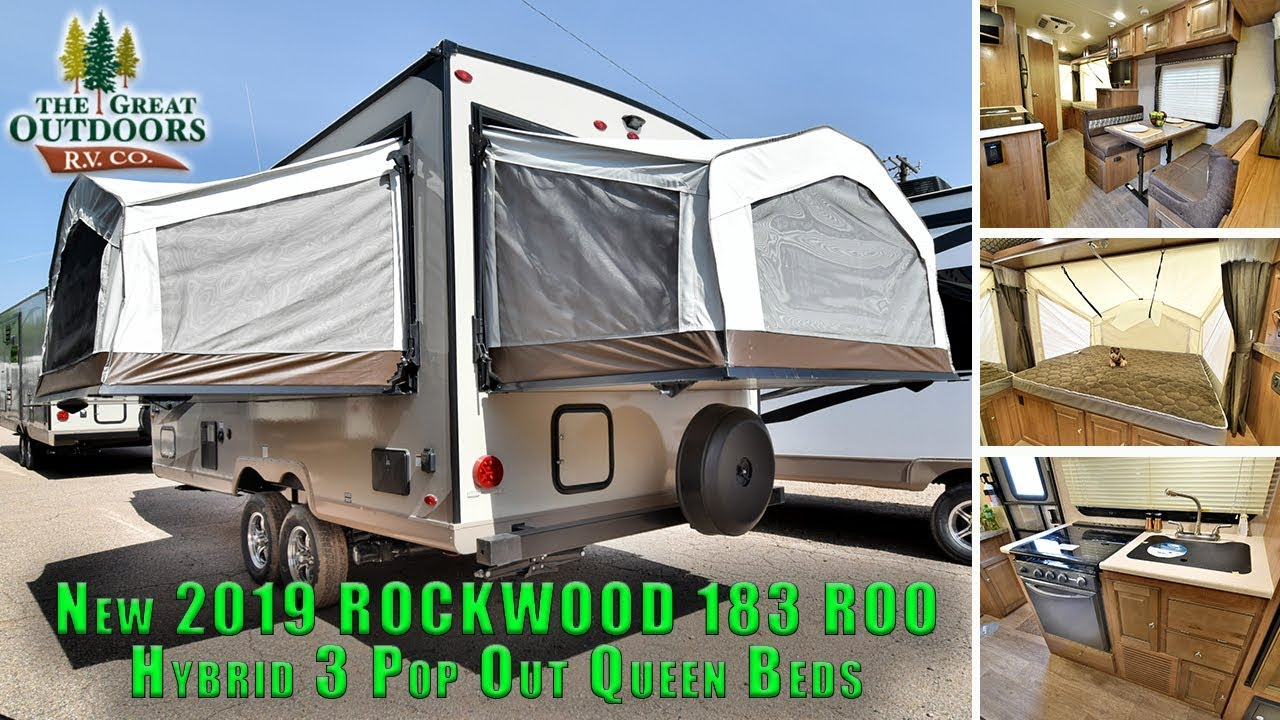 New 2019 Rockwood 183 Roo Hybrid Pop Out Queen Beds Rv