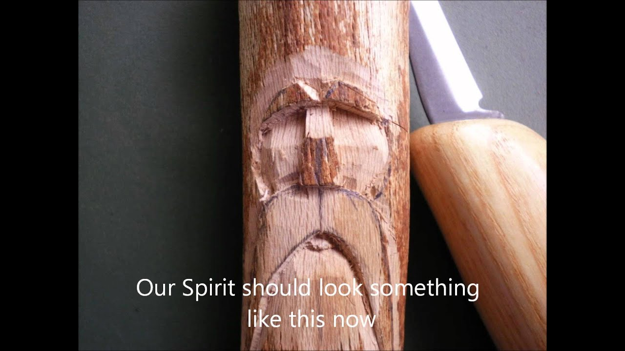 Carving a simple wood spirit
