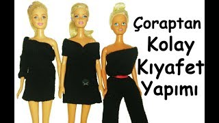 Kendin Yap / Barbie Kolay Elbise Yapımı / Çoraptan Barbie Kıyafet Yapımı / Barbie Kolay Tulum Yapımı