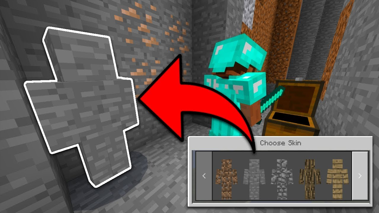 CHANGING SKINS IN GAME In Minecraft PE I Am Stone Camo Trolling - Skins para minecraft pe de troll