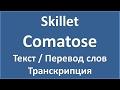 Skillet Comatose текст перевод и транскрипция слов mp3