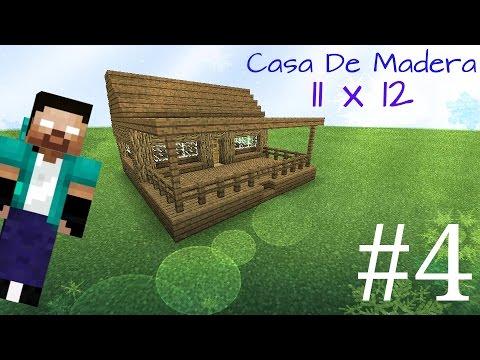 Como hacer una casa moderna de madera 11x12 en minecraft - Como hacer casa de madera ...