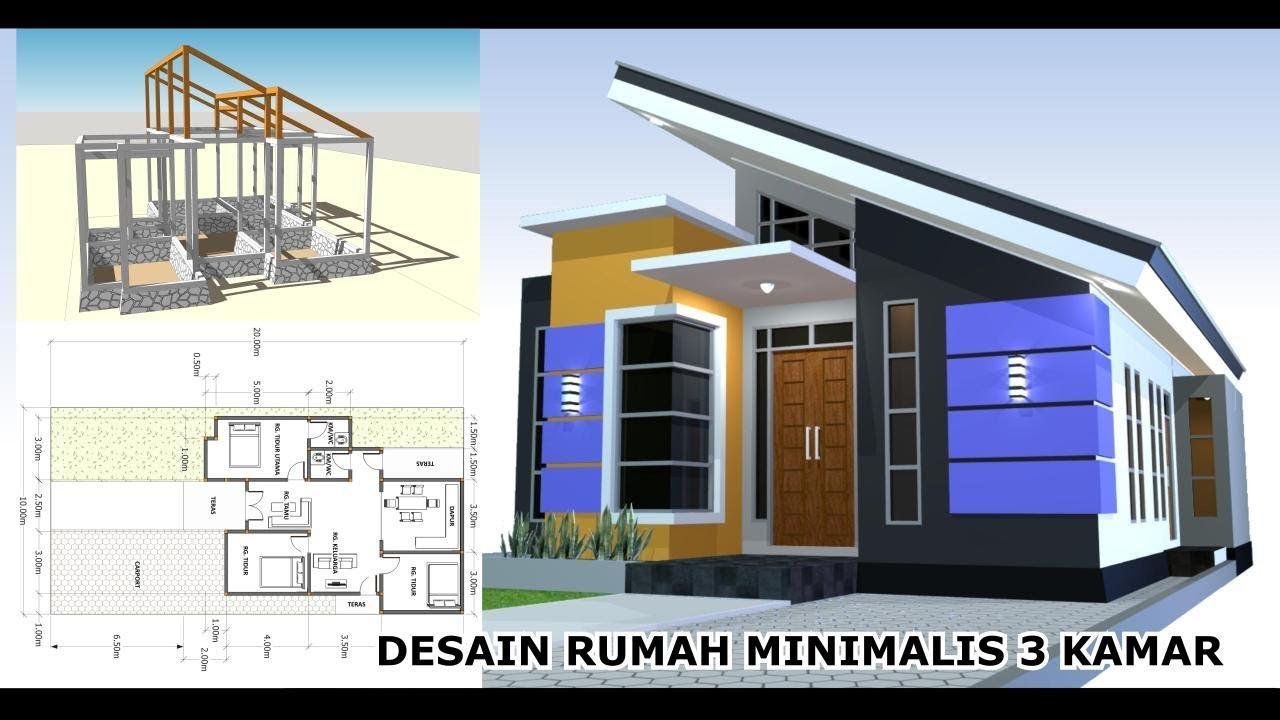 Desain Rumah Minimalis 9,5x12,5 m - 3 Kamar Tidur ...