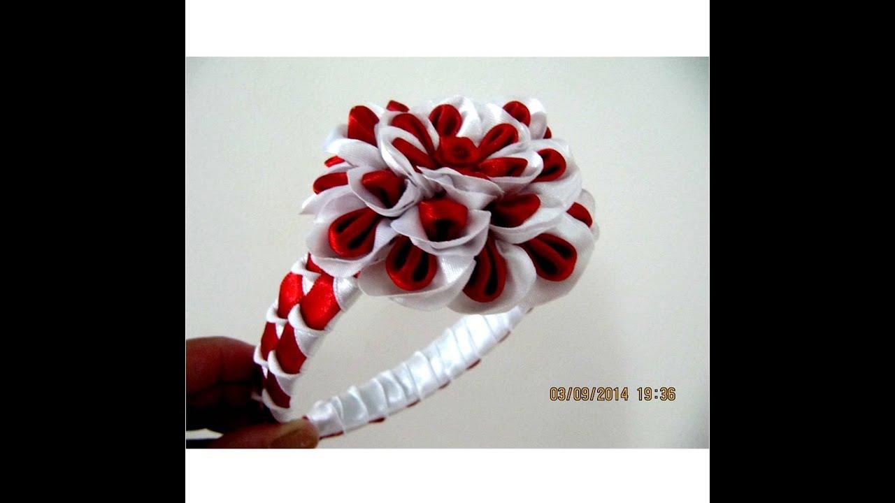 Flores blancas rojas en diademas con cuadros y relieves en - Material para hacer diademas ...