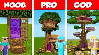 Minecraft Noob Vs Pro Vs God Portal Tree House Challenge In Minecraft  Animation