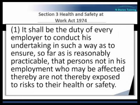 Health and Safety at Work Act 1974 Sections 2 and 3