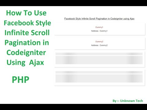 Create Infinite Scroll Pagination in Codeigniter using Ajax || BY