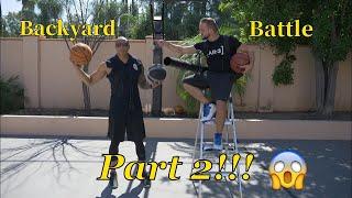 BACKYARD BATTLE 2! TRICKSHOT HORSE VS COLLEGE BASKETBALL PLAYER!!!