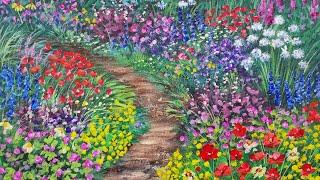 Flower Garden Path Acrylic Painting LIVE Tutorial