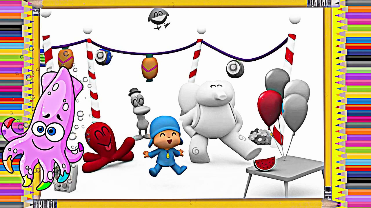 The coloring book ep - Pocoyo Coloring Book Pages For Kids Ep 1 Kideo Tv