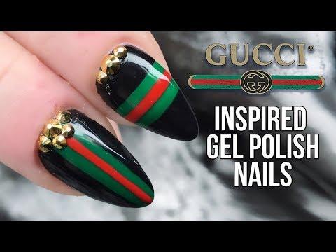 Gucci Nail Design With Urban Graffiti Gel Polish and Bling