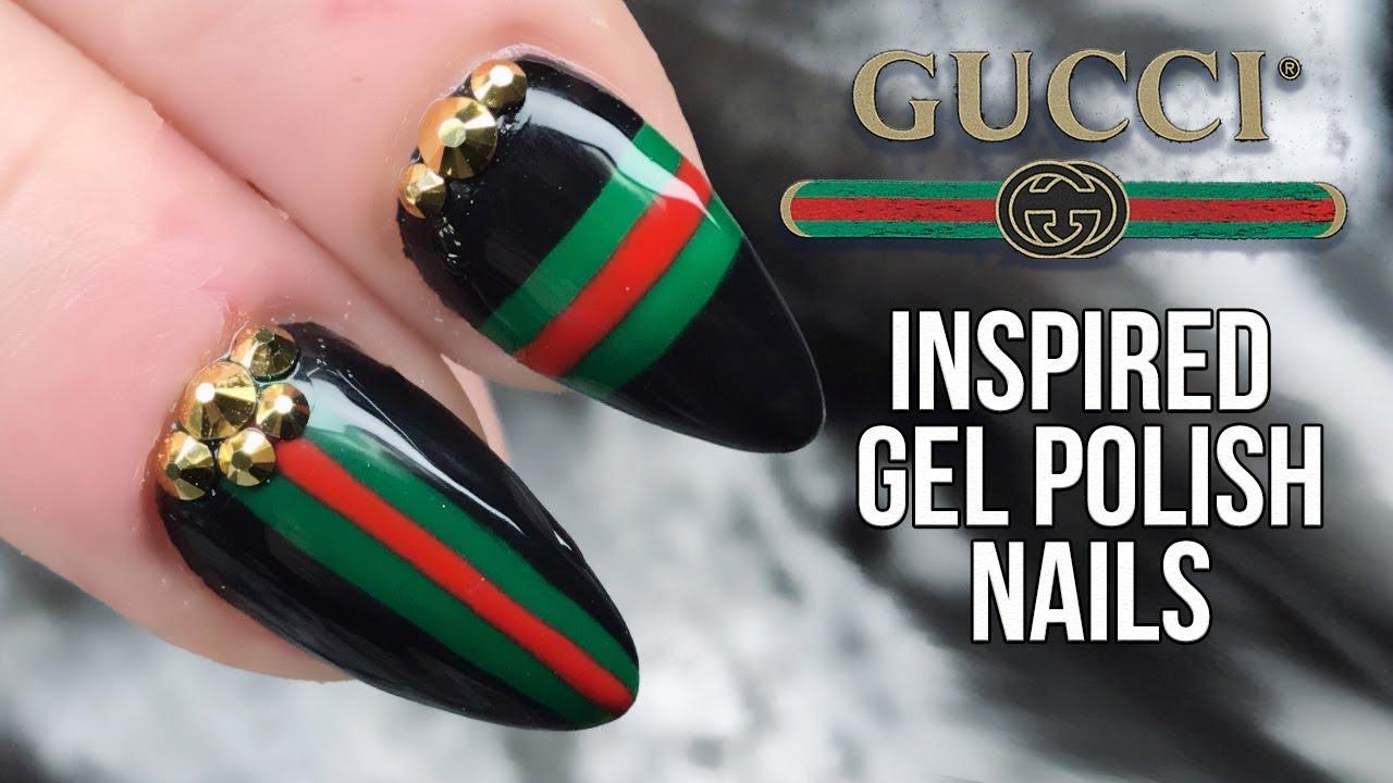 Gucci Nail Design With Urban Graffiti Gel Polish And Bling Youtube