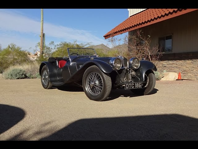 1938 SS Jaguar 100 3 ½ Litre in Gun Metal Paint & Engine Sound on My Car Story with Lou Costabile