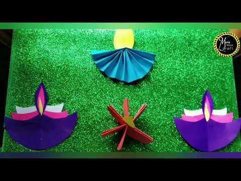 How to make paper diya/paper diya/diwali craft/Diy paper diya
