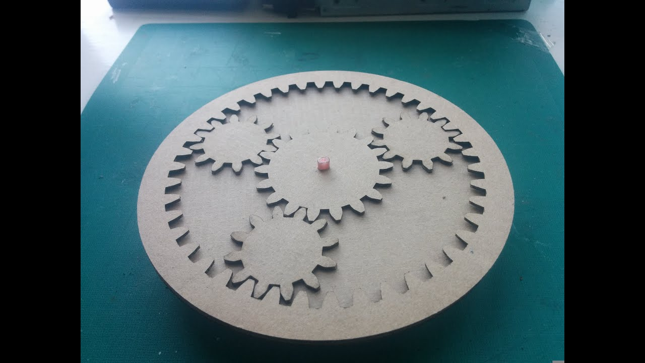 Laser cut carboard planetary gear --wattnotions