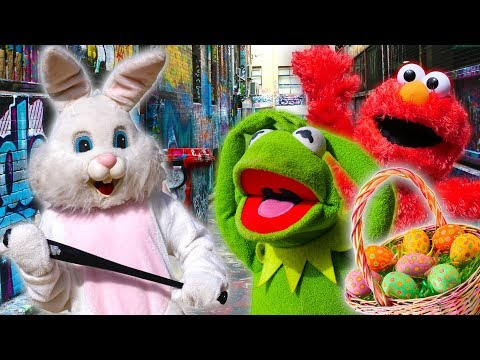 Kermit the Frog & Easter Bunny Play April Fools Joke on Elmo!