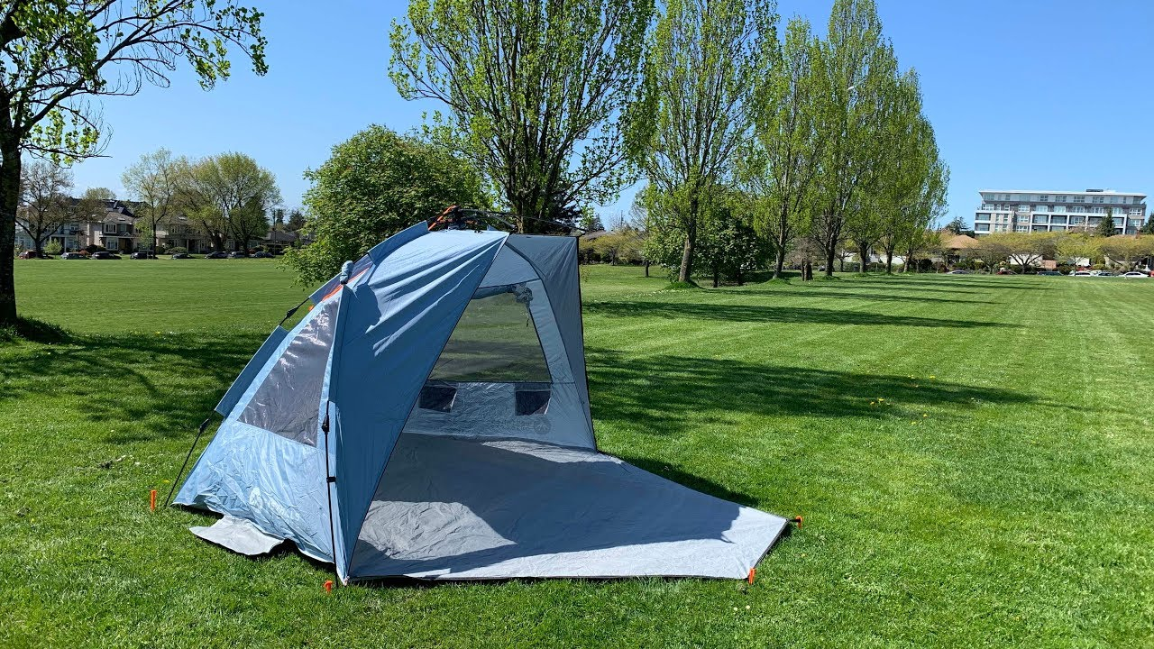 Durable Polyester Easy Up 4 Person Beach Tent Sun Shelter /& Extended Porch XL