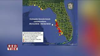 Red tide less intense, new map shows