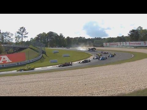 Cooper Tires USF2000 Championship 2017. Race 2 Barber Motorsports Park. 1st Lap Crashes