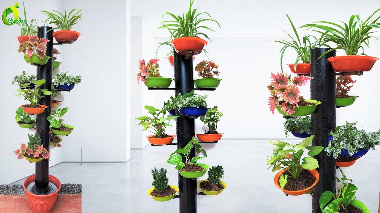 How To Make Beautiful Tower Flower Pot Stand Using Pvc Pipe/Tower Garden/ORGANIC GARDEN