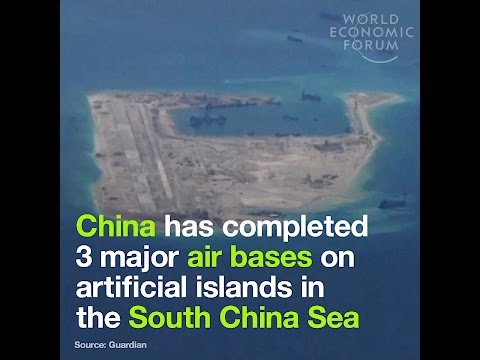 China has completed 3 major air bases on artificial islands in the South China Sea