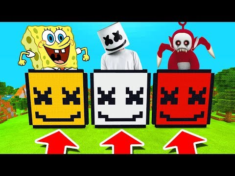 Minecraft PE : DO NOT CHOOSE THE WRONG MARSHMELLO! (Spongebob, Marshmello & Po Slendytubby) thumbnail