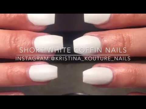 Short White Coffin Nails Design