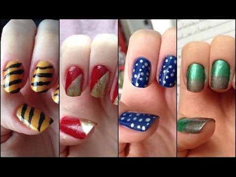 Easy Hogwarts Houses Nail Art Youtube