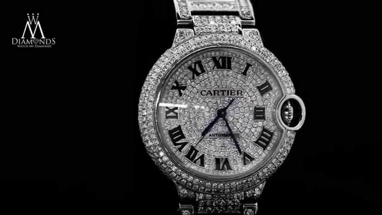 diamond cartier ballon bleu w6920046 automatic mid size watch diamond pave dial youtube. Black Bedroom Furniture Sets. Home Design Ideas