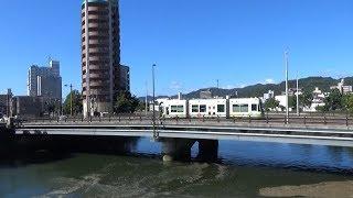 路面電車が通る新横川橋 (2018.10.13広島市)