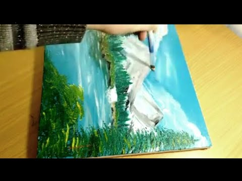 Landscape painting step by step/easy landscape painting for beginners