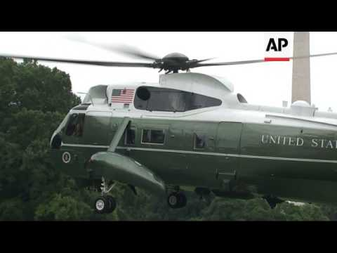 Trump family leave for Camp David