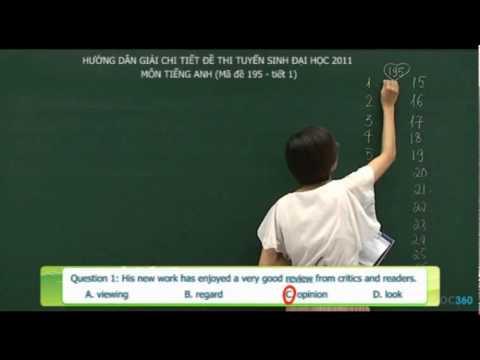 Giải đề thi tiếng anh khối D năm 2011