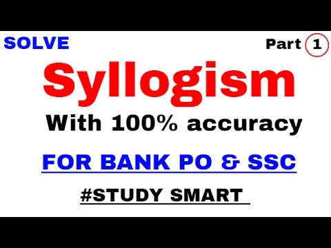 Syllogism Tricks For Bank , SBI PO By Study Smart Part 1 | in Hindi | venn diagram method