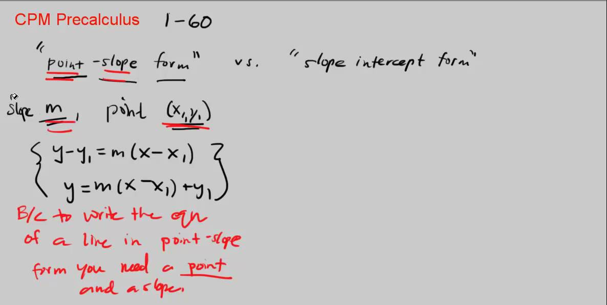 slope intercept form vs point slope  CPM Precalculus 11-11 - Point-Slope Form vs Slope-Intercept Form