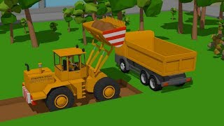 Construction Vehicles for Kids - Excavator, Bulldozer and Truck - Digging foundations for a monument