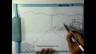 video belajar menggambar air terjun