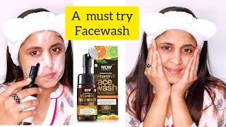 WOW Skin Science Brightening Vitamin C Foaming Face Wash With Brush-Review and Demo | GlossyTips