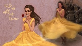 Drawing Emma Watson as Belle - Beauty and the Beast fan art