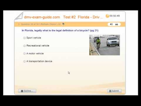 Florida Learners Permit >> FLORIDA - DHSMV Learner Driving License Test # 2- Practice Exam - Rules of the Road - YouTube